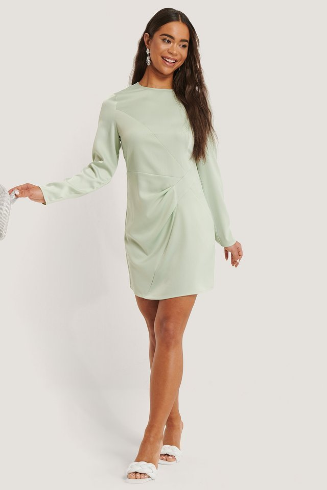 Long Sleeve Satin Mini Dress Outfit.