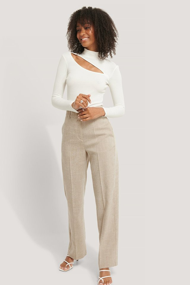 Cut Out Rib Top Outfit.