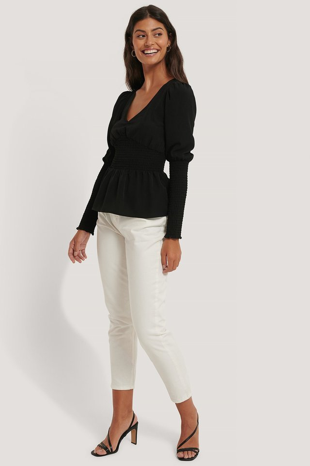 Puff Shoulder Smock Top Outfit.