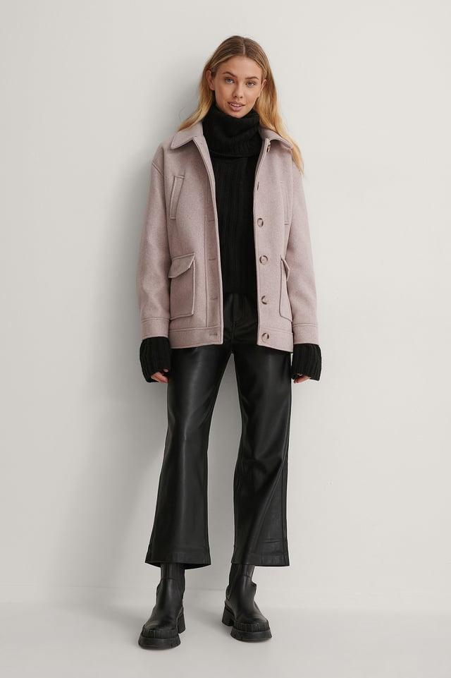Melange Button Jacket Outfit.