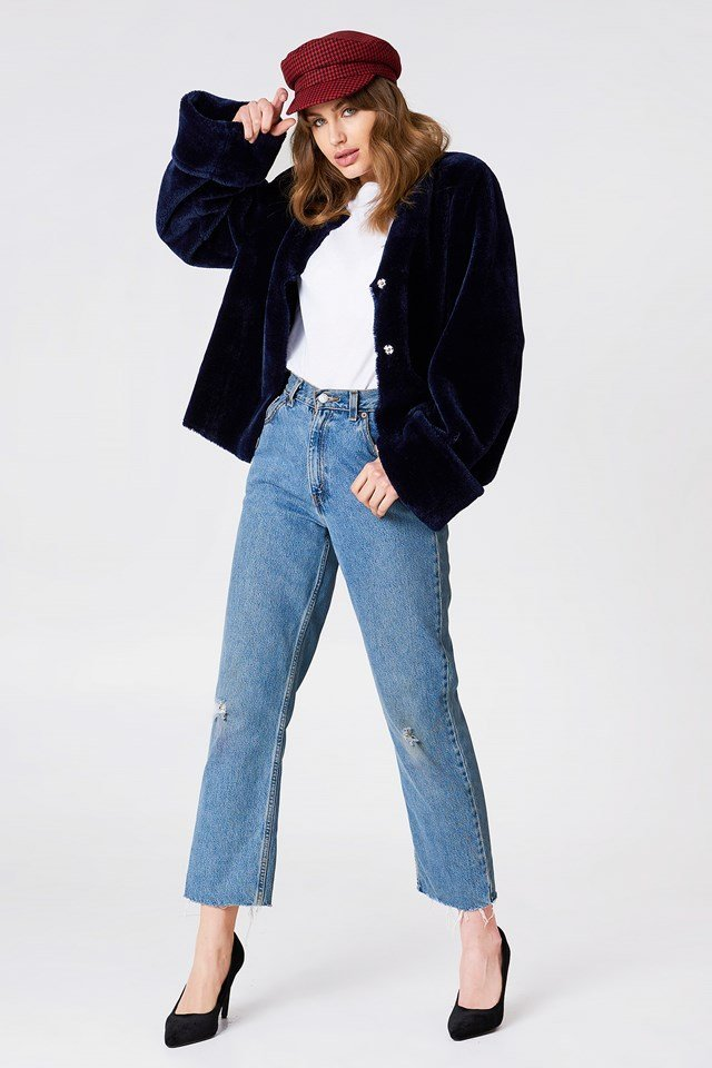 Faux Fur Jacket with Washed Denim