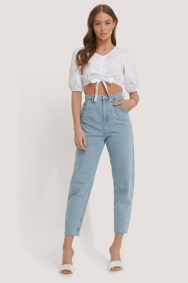 White Tie Detail Crop Puff Sleeve Top