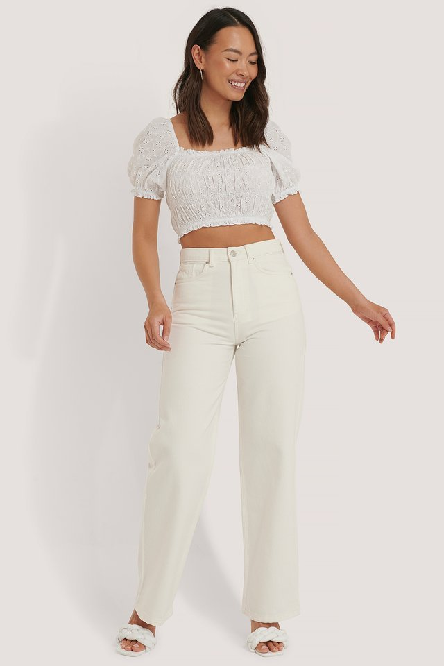 Structured Anglaise Crop Top Outfit.