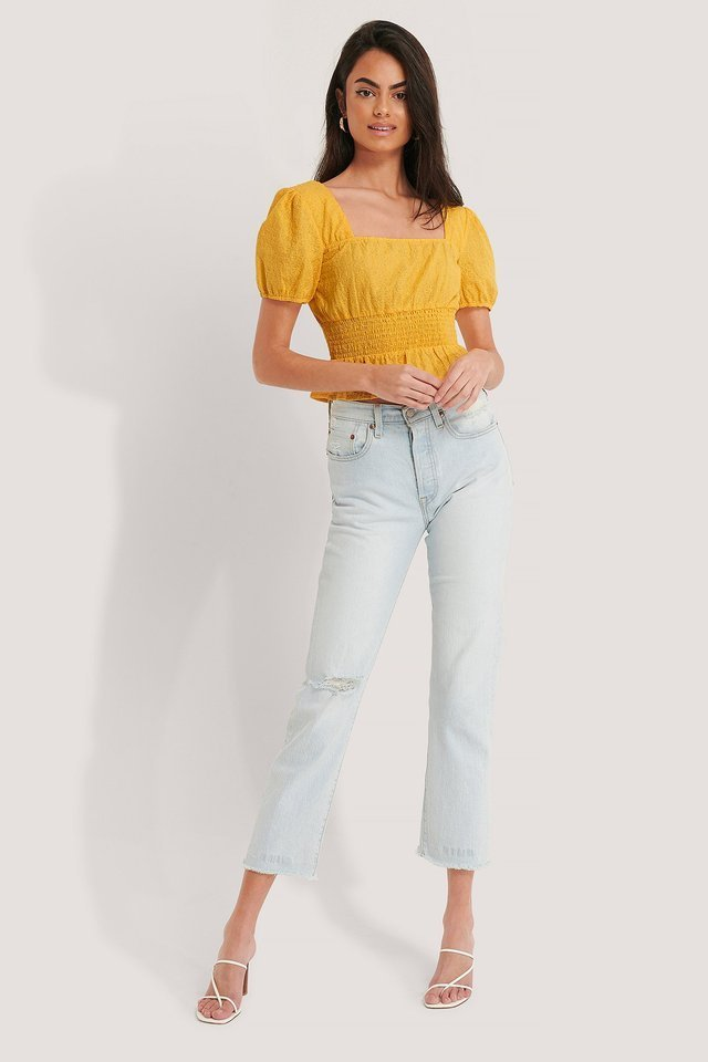 Square Neck Cropped Blouse Outfit.