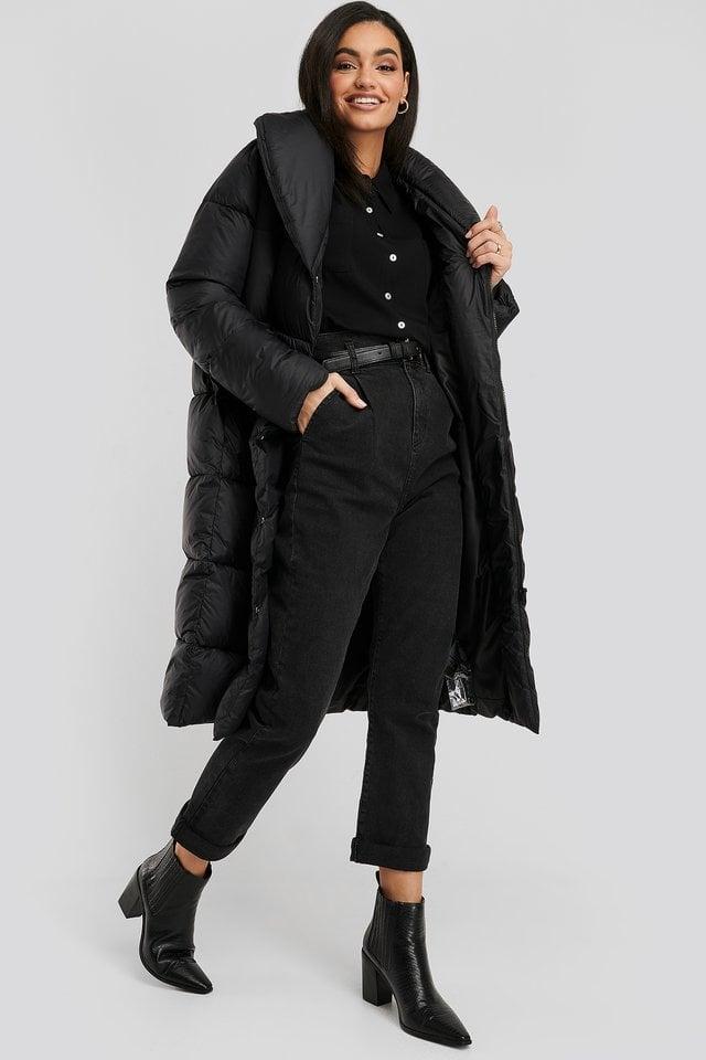 Black Oversize Lang Pufferjakke
