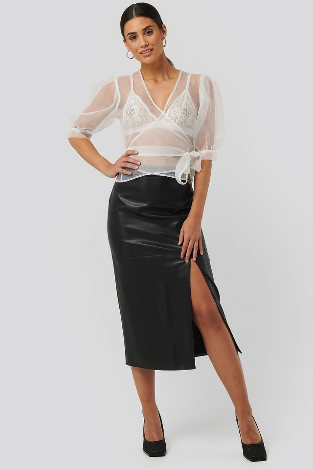 Overlap Organza Top Outfit.