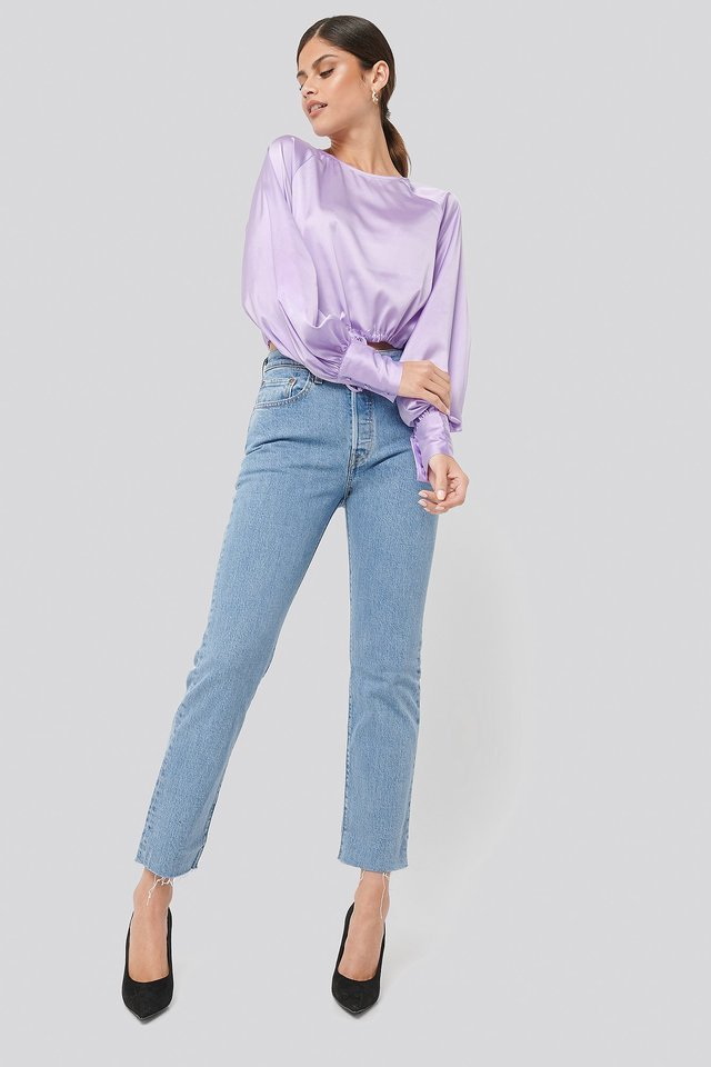 Drawstring Detail Satin Blouse Outfit.