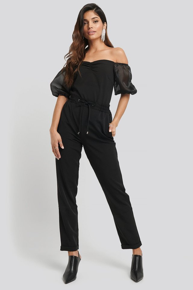 Off Shoulder Organza Sleeve Top Outfit.