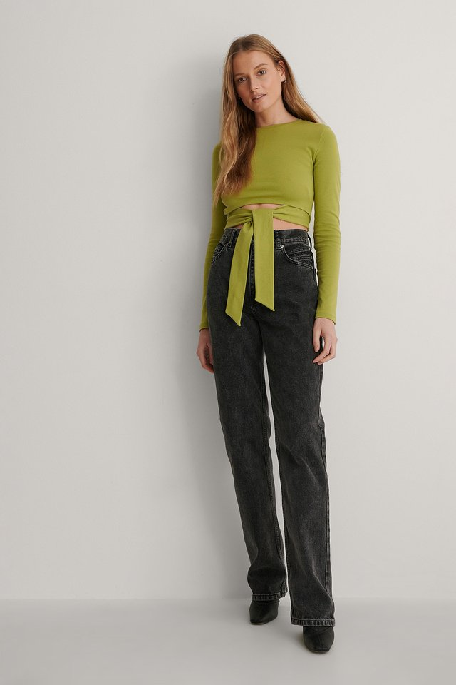 Green Open Back Twisted Detail Top