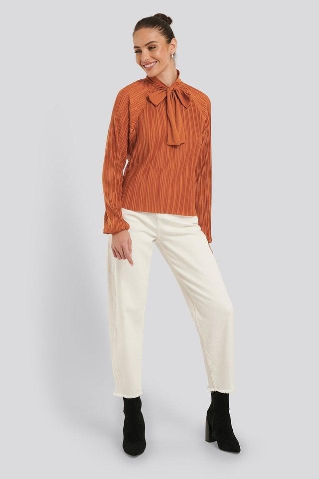 Jersey Plisse Boho Blouse Outfit.