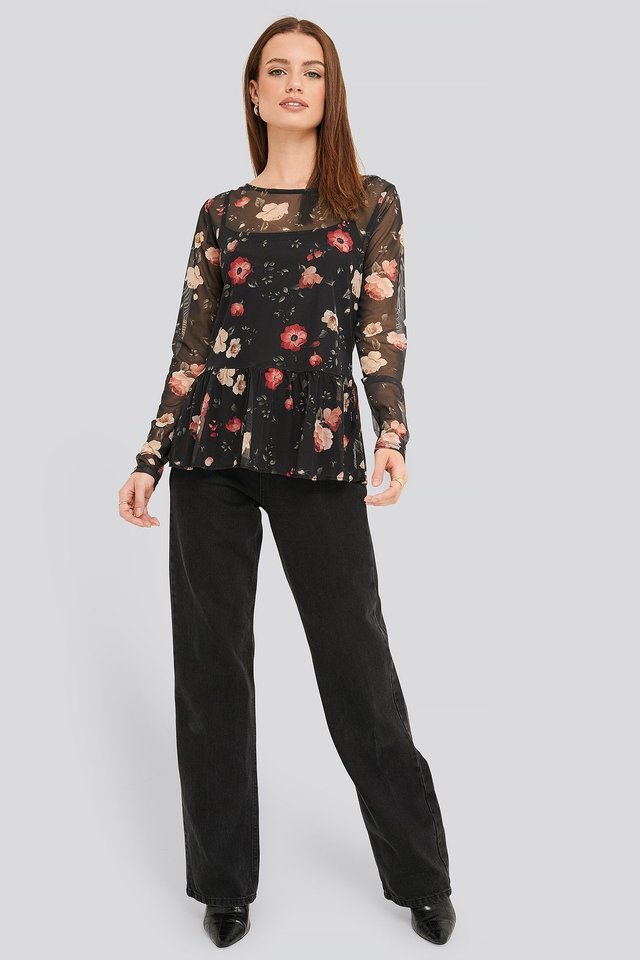 Flower Print Mesh Top Outfit.