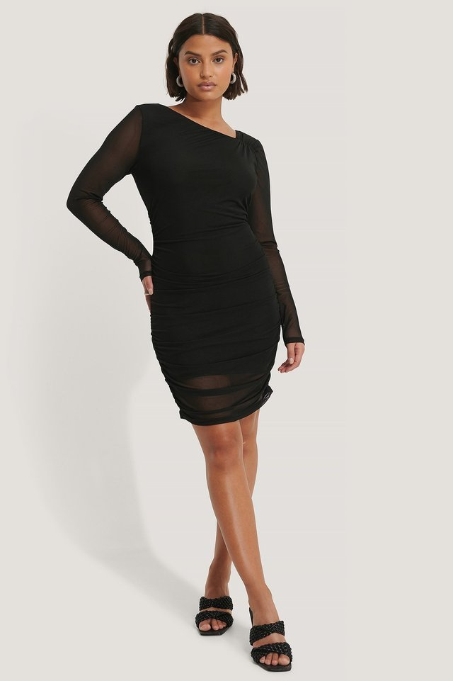 Asymmetric Neckline Mesh Dress Outfit.