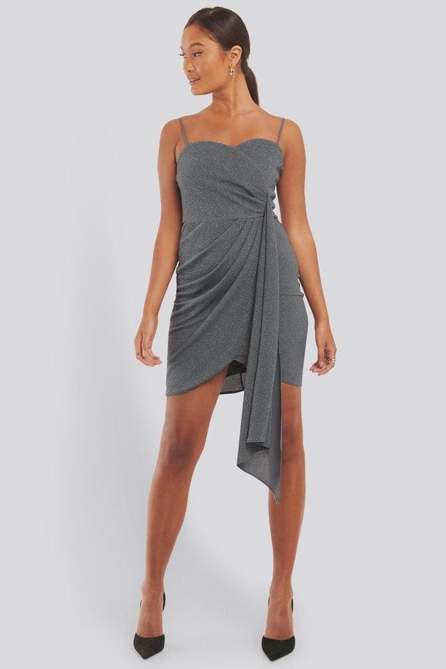 Drape Detailed Mini Dress Outfit.