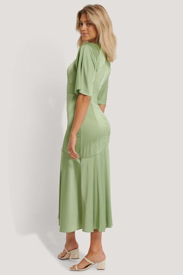 Satin Shift Midi Dress Outfit.