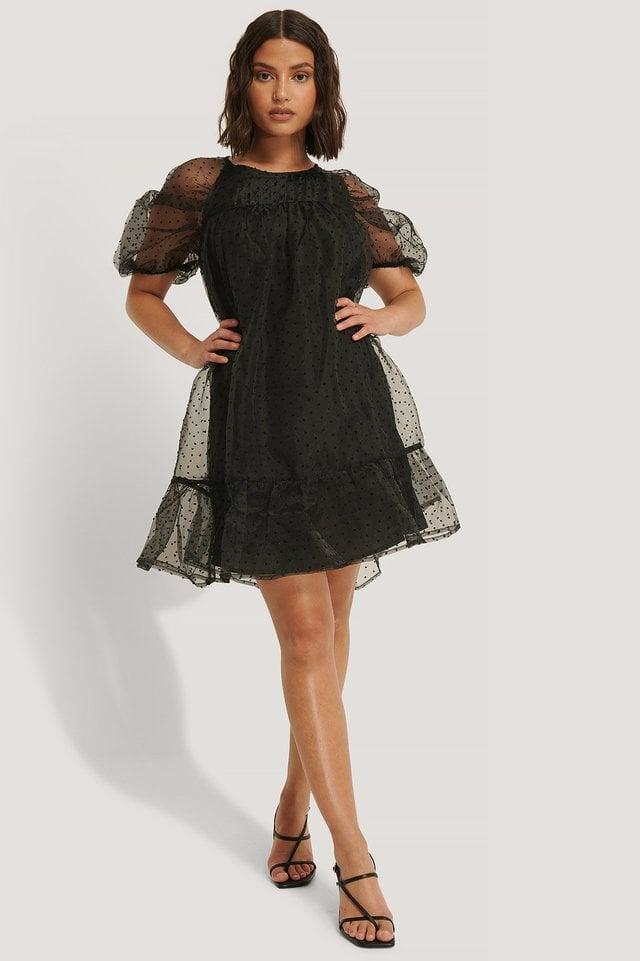 Dobby Organza Mini Dress Outfit.