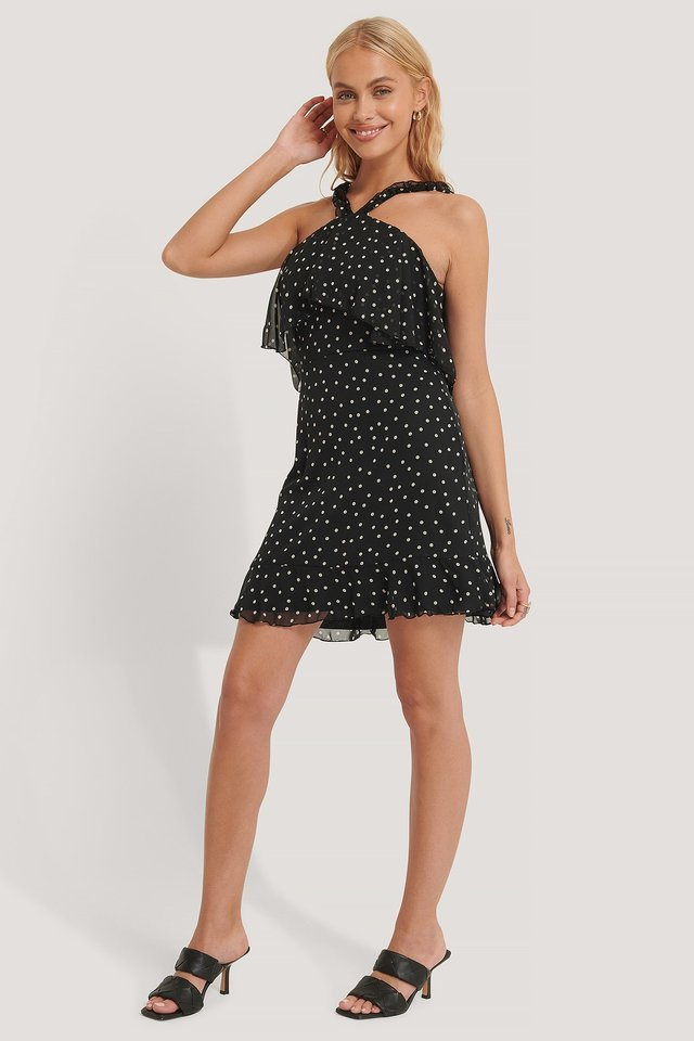 Polka Dot Patterned Mini Dress Outfit.