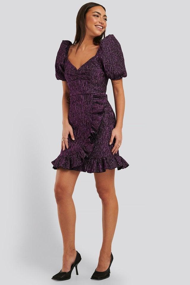 Ruffle Detail Mini Dress Outfit.