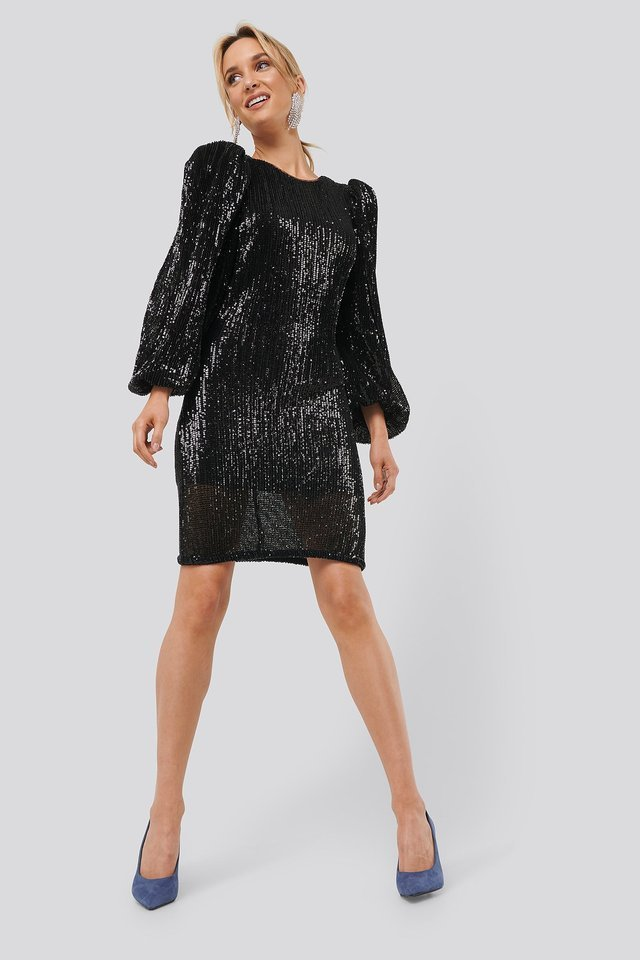 Puff Sleeve Sequin Mini Dress Outfit.