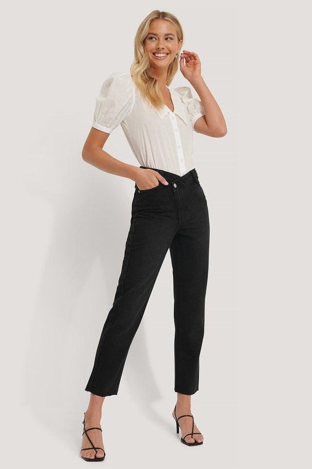 High Waist Asymmetric Closure Straight Jeans Black Outfit.