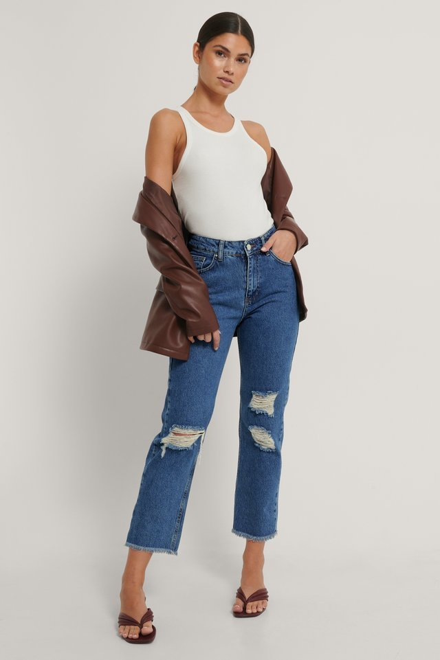 Straight Destroyed Fringed Hem Jeans Blue Outfit.