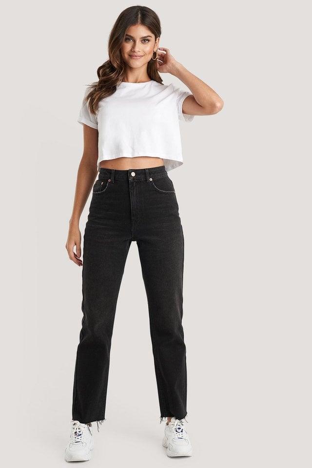 High Waist Raw Hem Straight Jeans Black Outfit.