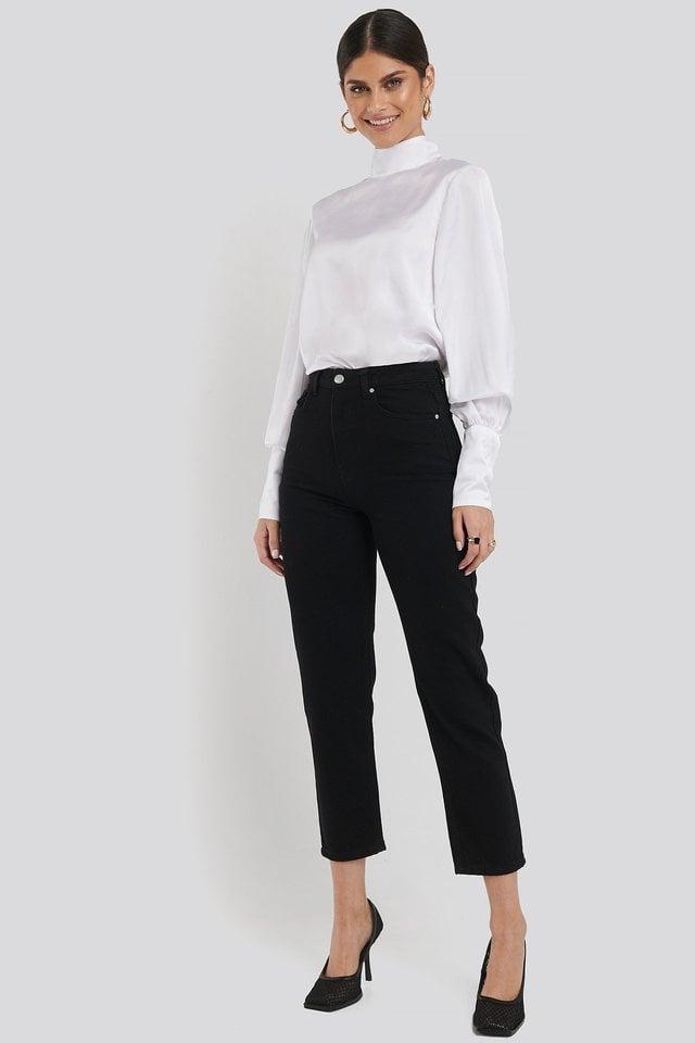 Highwaisted Straight Denim Black Outfit.