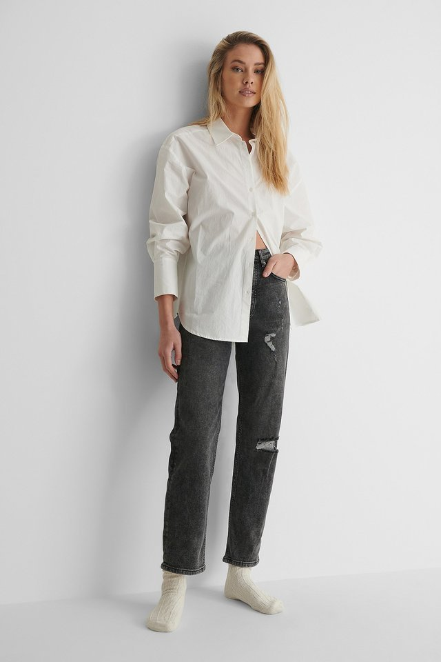 Straight High Waist Destroyed Jeans Grey Outfit.