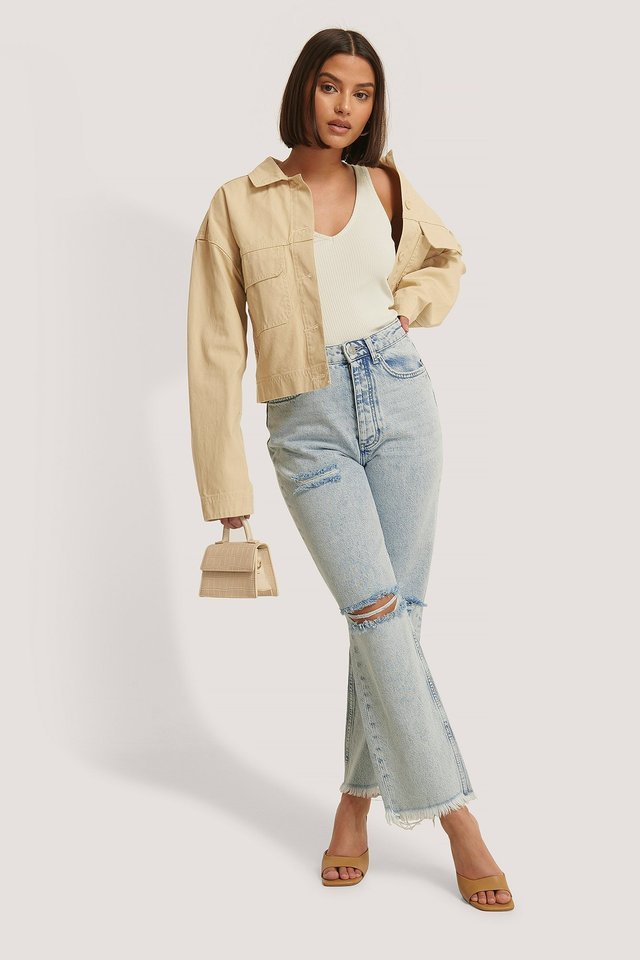 High Waist Destroyed Jeans Blue Outfit.