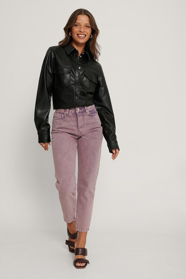 Washed High Waist Jeans Pink Outfit.