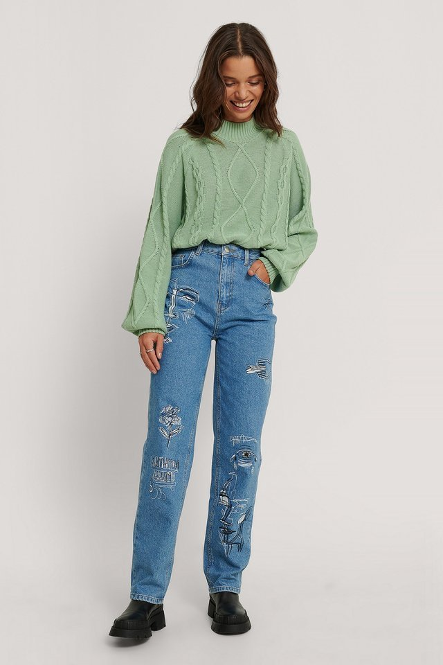 Organic Printed Straight Denim Blue Outfit.