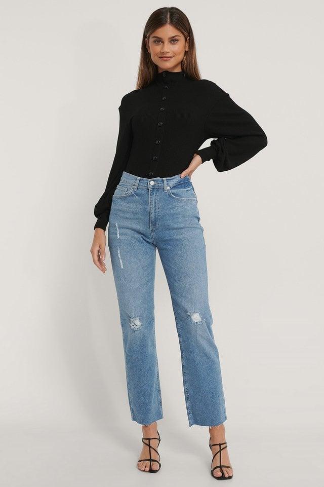 Light Blue Organisch Rechte Versleten Jeans Met Hoge Taille