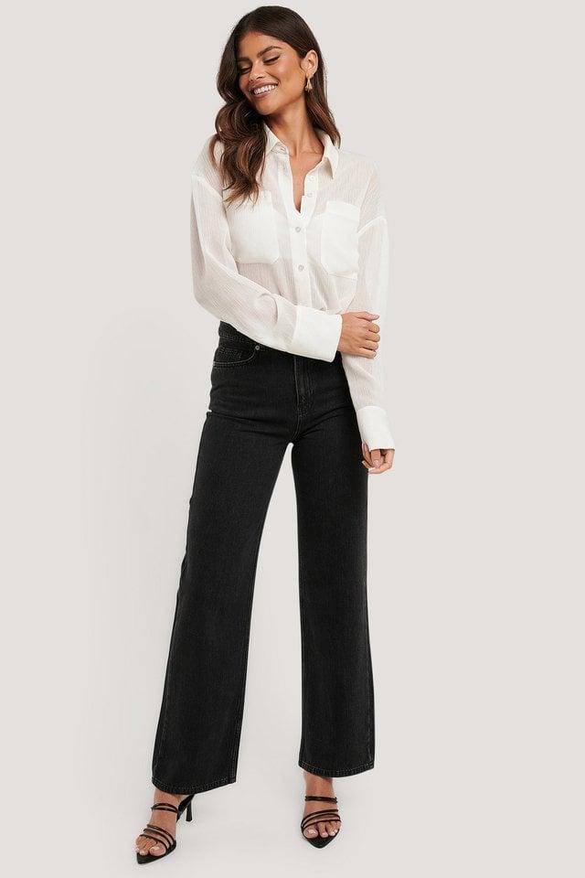 Straight Leg Denim Black Outfit.