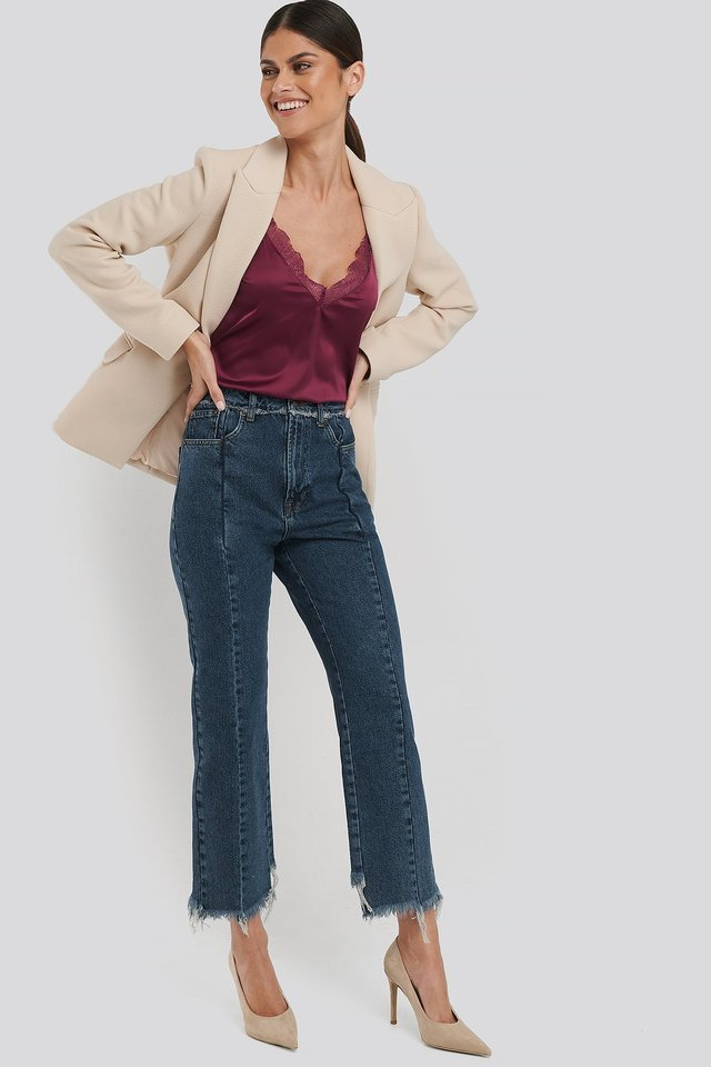 Raw Edge Straight Jeans Blue Outfit.