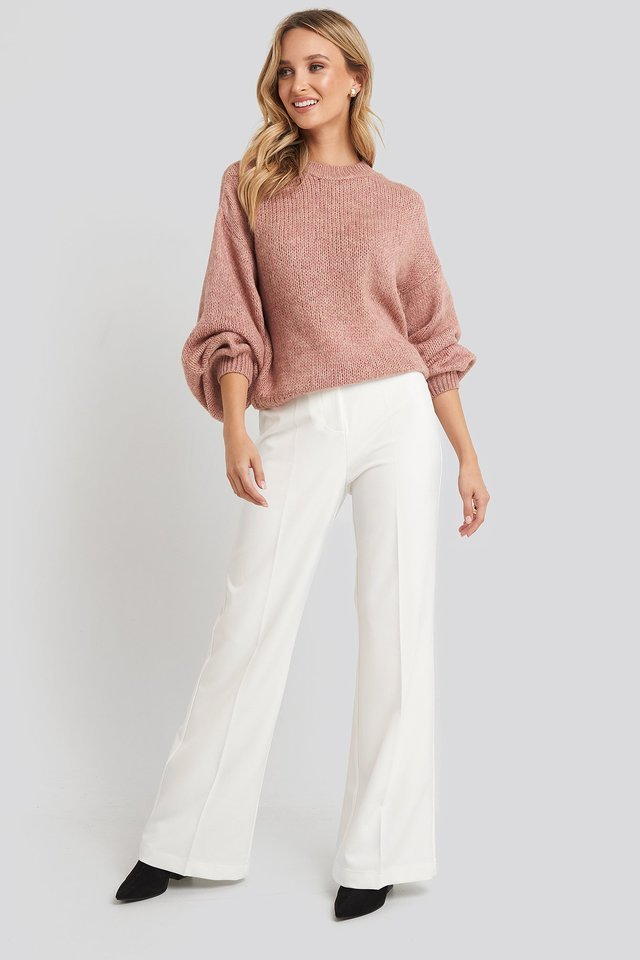 Crew Neck Volume Sleeve Knitted Sweater Outfit.