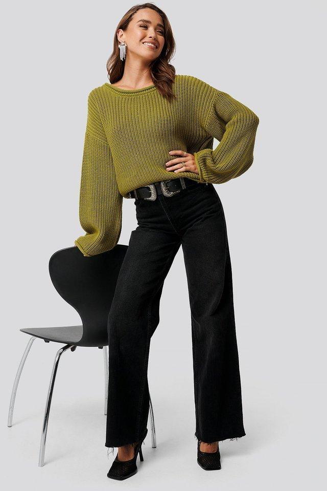 Olive Green Cropped Boat Neck Knitted Sweater