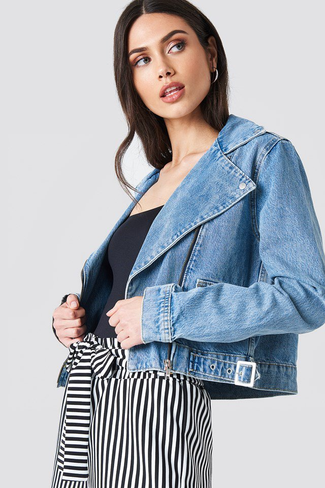 Denim Biker Jacket Outfit