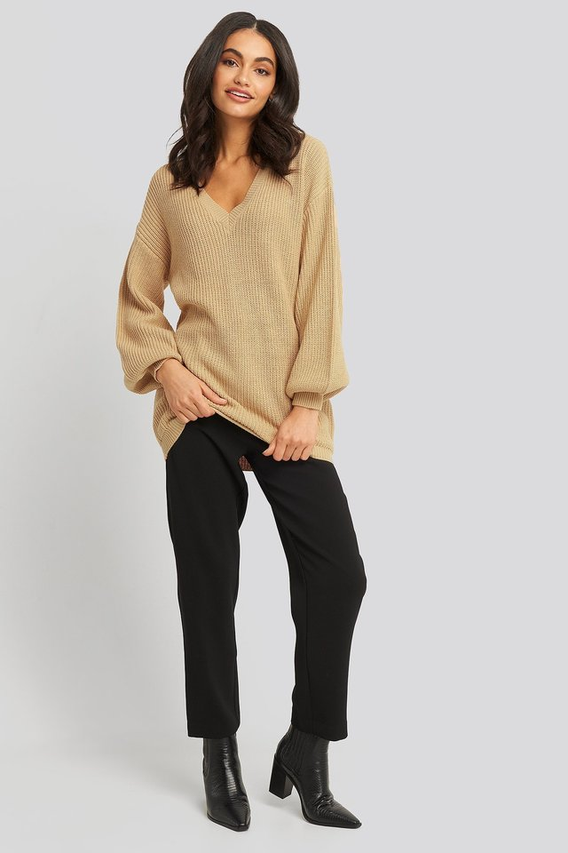 Deep V Front Long Knitted Sweater Outfit.