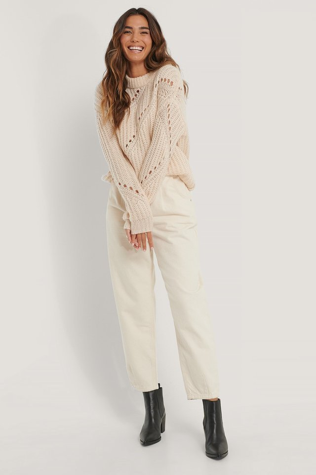 Diagonal Knitted Sweater Outfit.