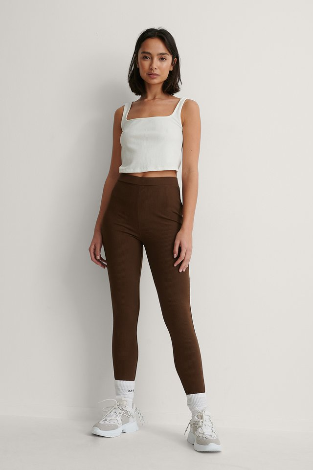 Embroidery Detail Rib Leggings Outfit.