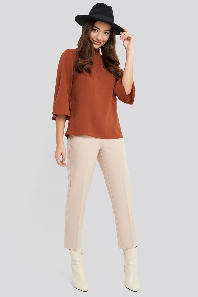 High Neck Wide Sleeve Blouse Outfit.