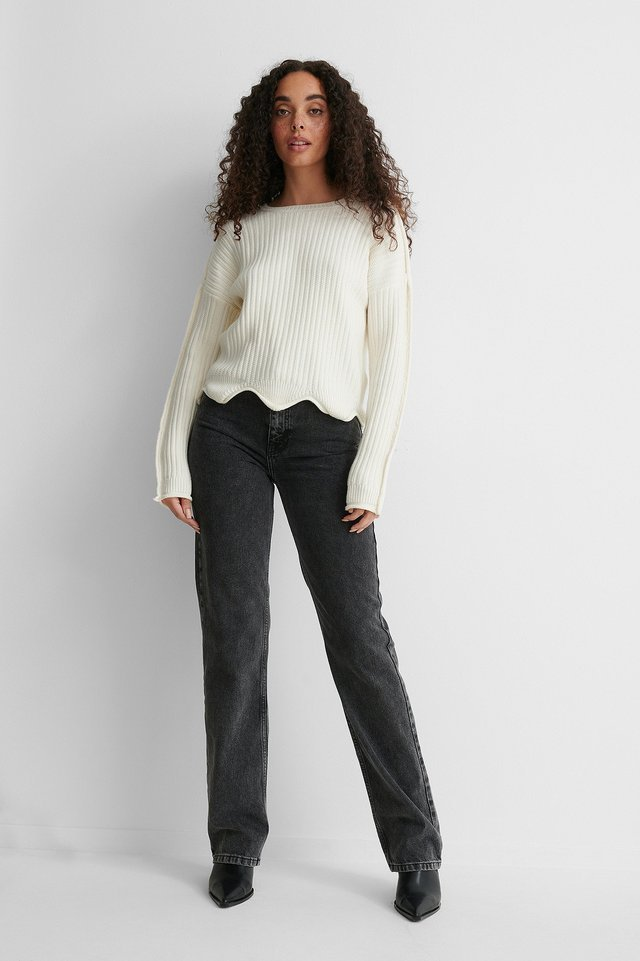 Wavy Detail Knitted Sweater Outfit.