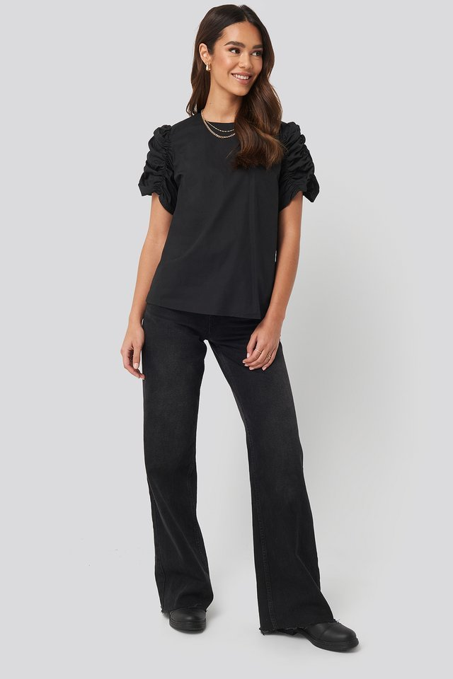 Ruched Sleeve Blouse Outfit.
