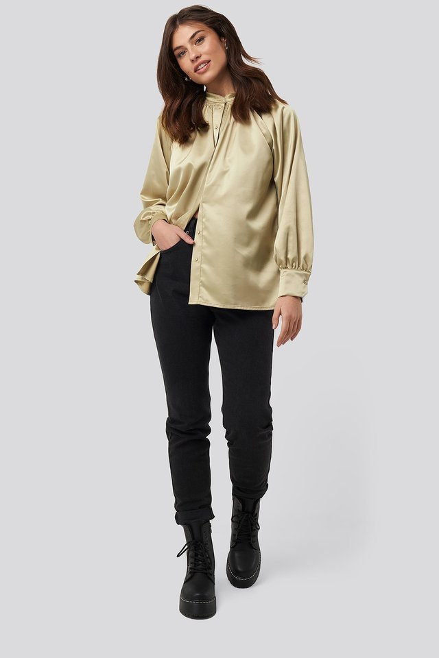 Satin Smock Blouse Outfit.
