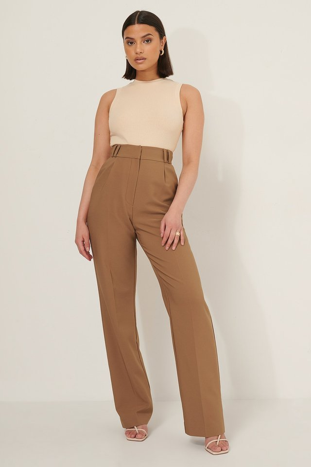 High Waist Pleat Pants Outfit.