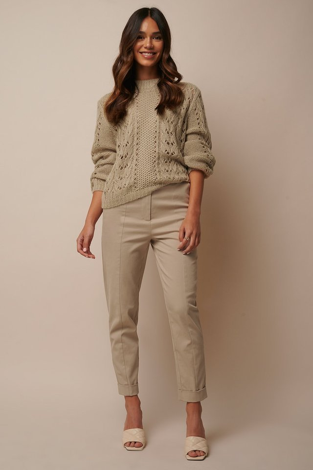 Straight Folded Suit Pants Outfit.