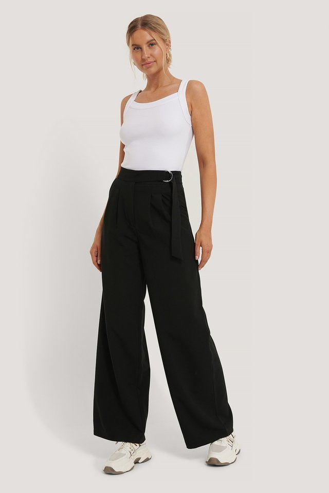 D-ring Belted Suit Pants Outfit.