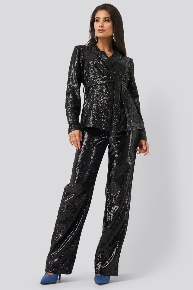 Black Sequin Belted Blazer