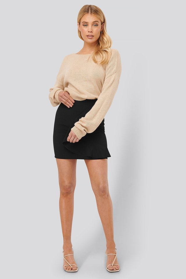 Flounce Mini Skirt Outfit.