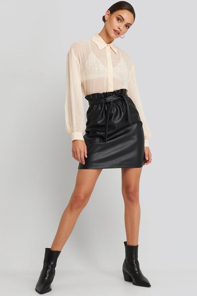 Black Paper Waist PU Skirt