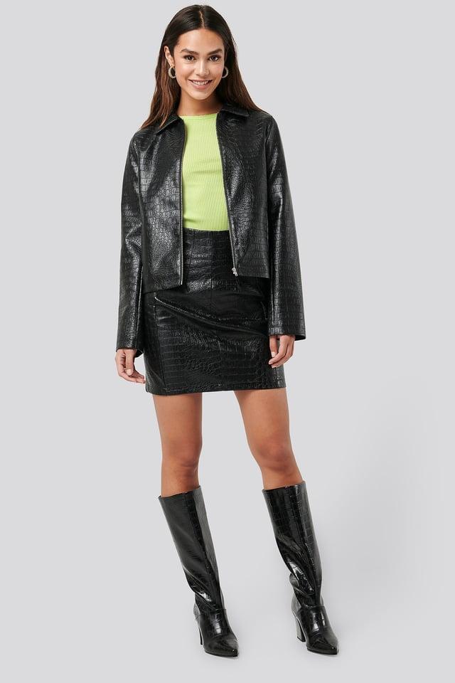 PU Reptile Mini Skirt Outfit.
